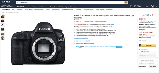 Amazon listing for Canon EOS 5D Mark IV