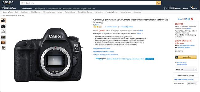 Amazon listing for Canon EOS 5D Mark IV
