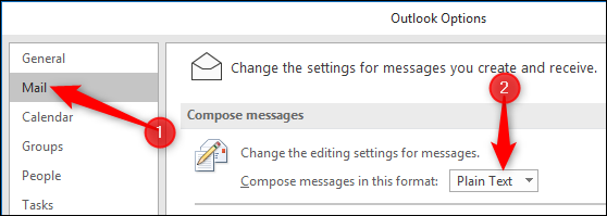 """Change """"Compose messages in this format"""" to """"Plain Text"""""""