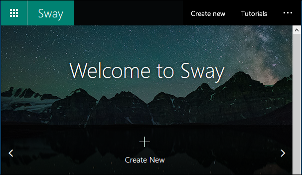 The Sway app front page