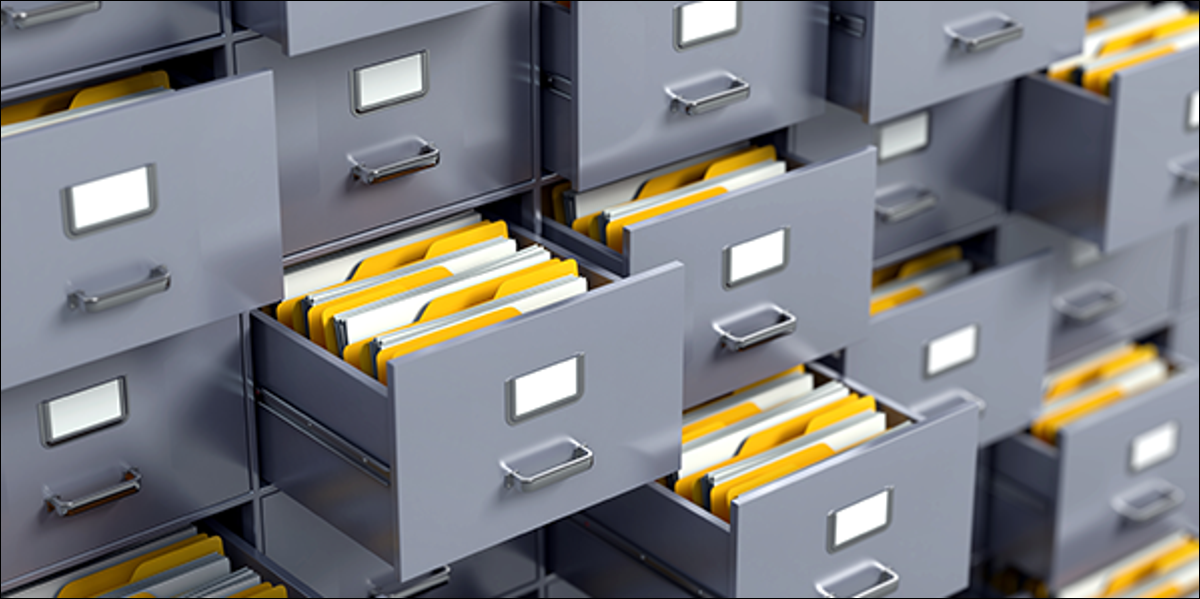 wall of open filing cabinets