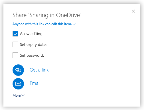 The sharing options in OneDrive