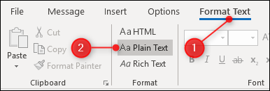 Click Format Text > Plain Text