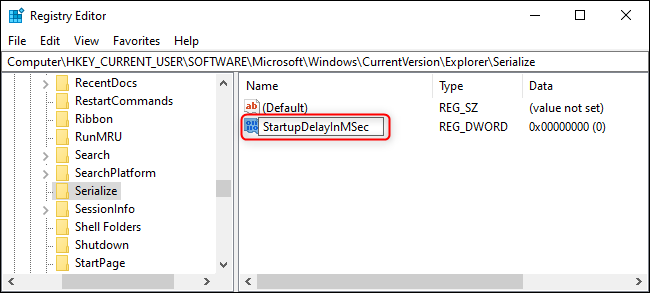 """Name the key """"StartupDelayInMSec""""."""