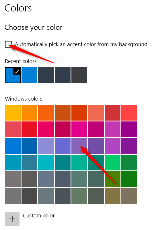 choosing colors in the settings app