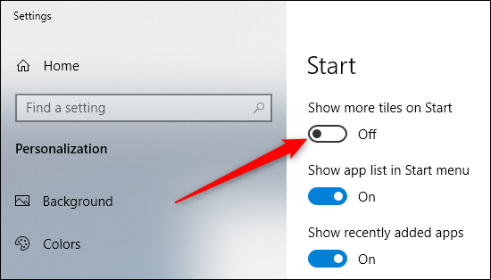 turn on show more tiles on start option
