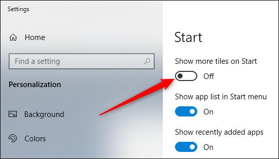 turn on show more tiles on start option