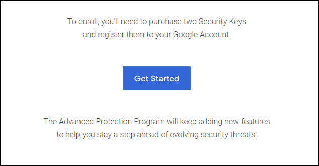 Get Started button to enable GAP