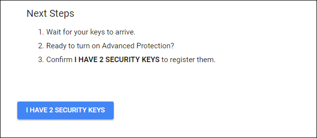 Confirming that you have two security keys available