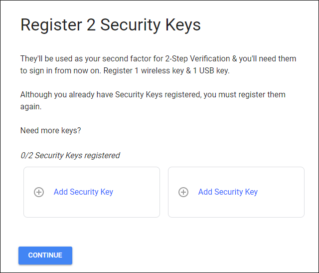 Registering security keys