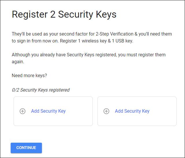 Registering security keys