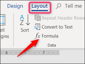 click the formula button on the layout tab
