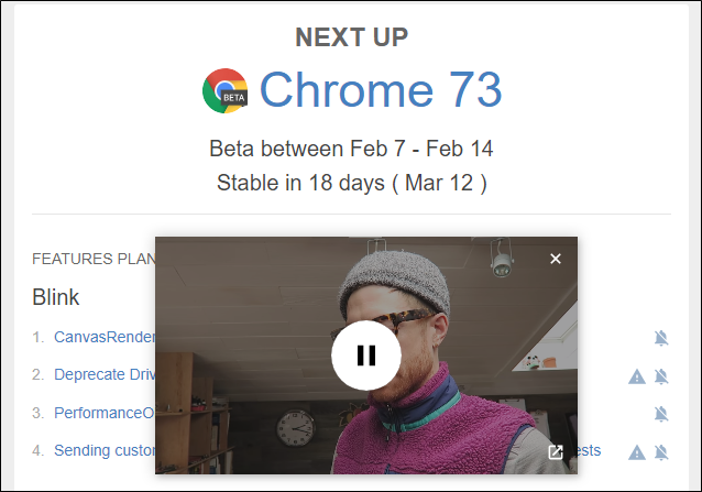 Picture-in-picture on Google Chrome 73