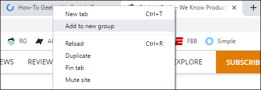 Tab grouping in Google Chrome