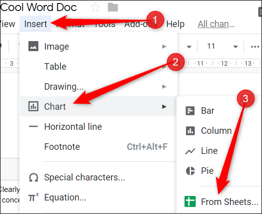 Insert a Chart from Google Sheets