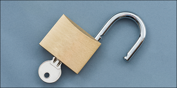 open padlock with a key