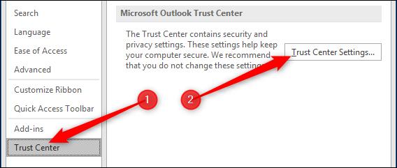 Go to Trust Centre, then Trust Centre Settings