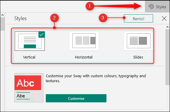 The Styles option, with formatting and remix options