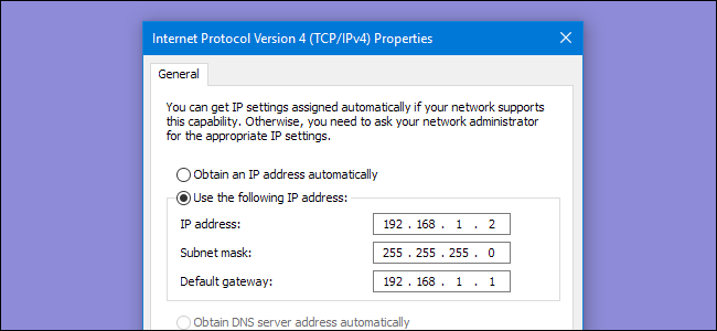 IP4 Dialog with an IP address assigned manually