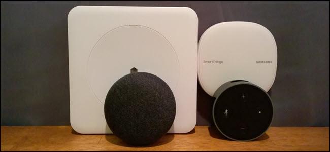 A Wink Hub, A Smartthings Hub, a Google Home Mini, and an Echo Dot
