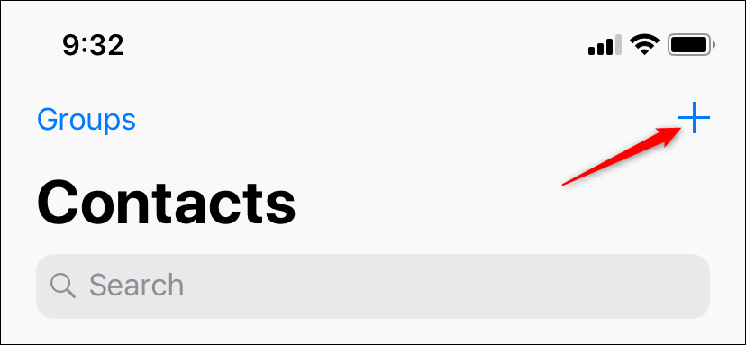 click the plus icon to create a new contact