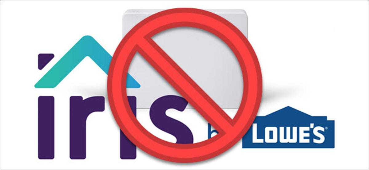 """Iris By Lowes hub with """"No"""" symbol over it"""