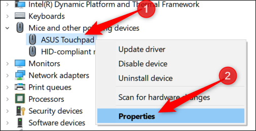 Right-click device then Click properties