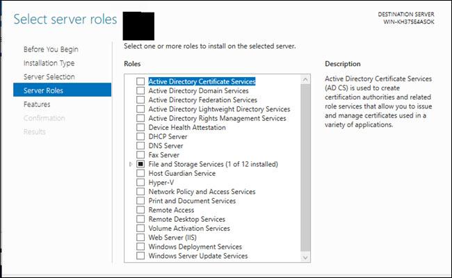 Select Server roles dialog