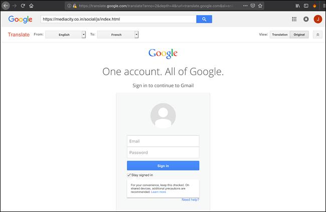 Google Translate phishing redirect