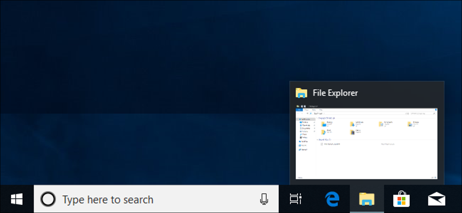 taskbar showing thumbnail preview of file explorer window