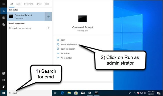 Windows search for command prompt, with Run as administrator option highlighted