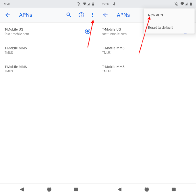 tap the three dot menu then select new apn