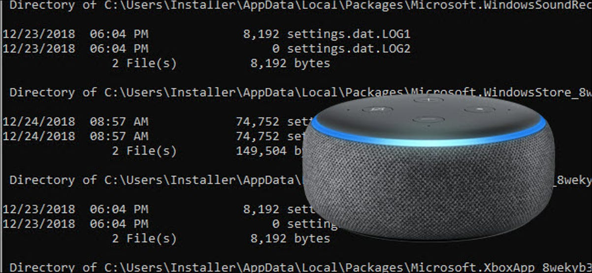 An echo dot in front of a command line prompt