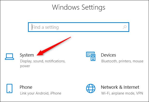 choosing System settings