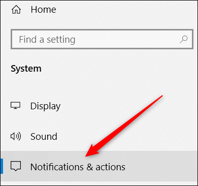 choosing the notifications & actions category