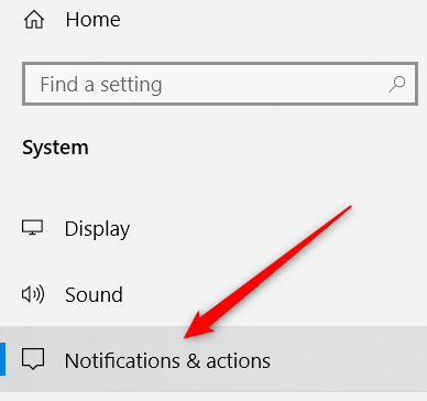 click the notifications & actions category