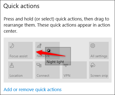 drag to rearrange quick actions