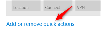 click add or remove quick actions link for more