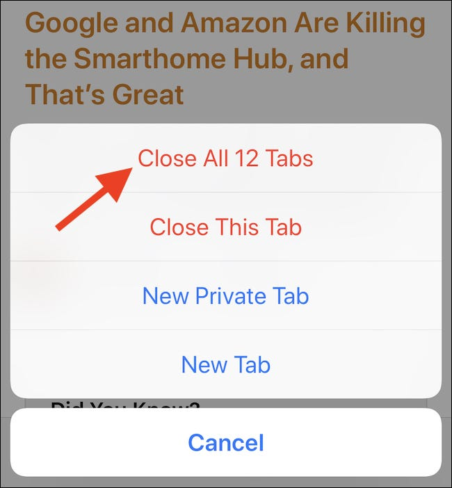 Tap Close All Tabs button