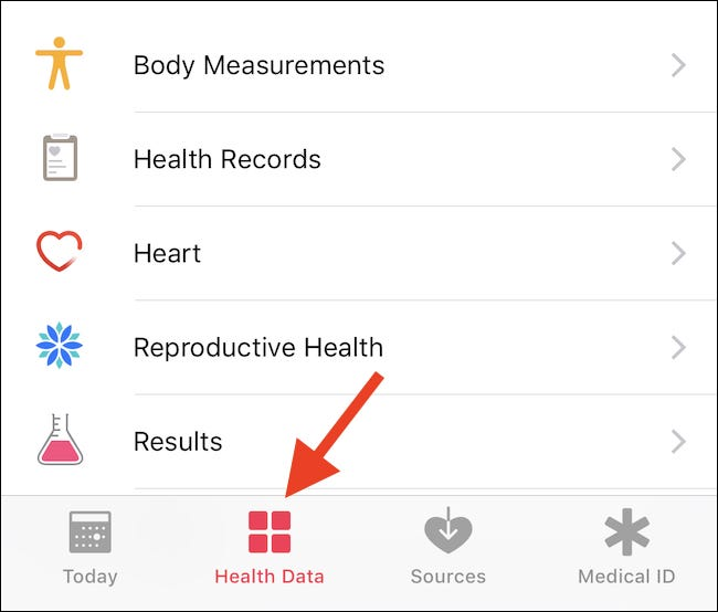 Open Health and tap Health Data