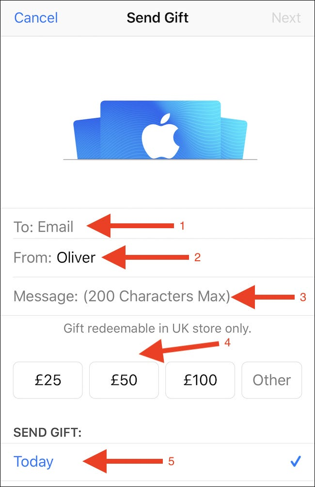 Enter a recipient name, your name, a message and choose how much to send. Tap Next