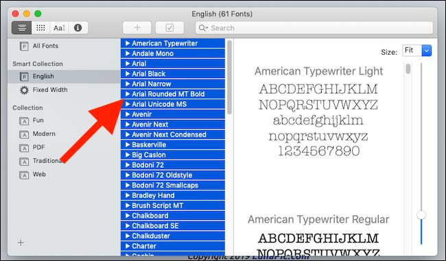 Click a font and press CMD+A