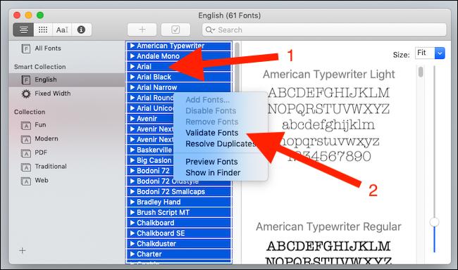 Right click a font and click validate fonts