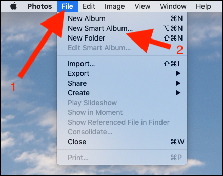 Click File followed by New Smart Album