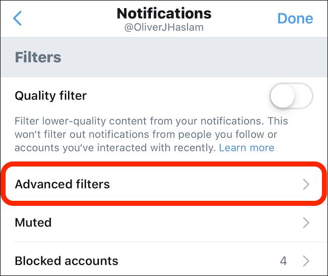 Tap advanced filters
