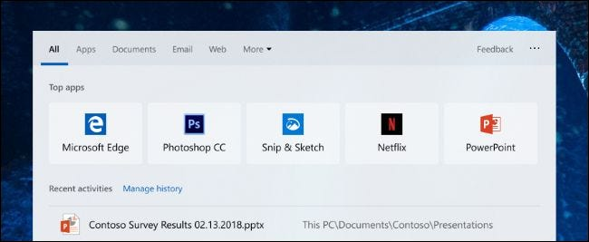 Top apps in Windows 10's new search dialog