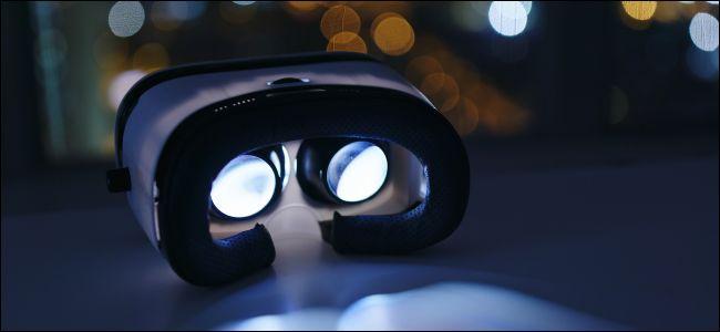 Virtual reality headset inside at night