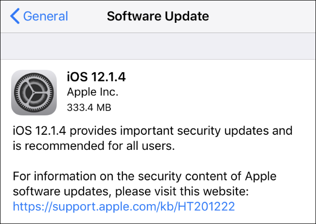 iOS 12.1.4 update available on an iPhone