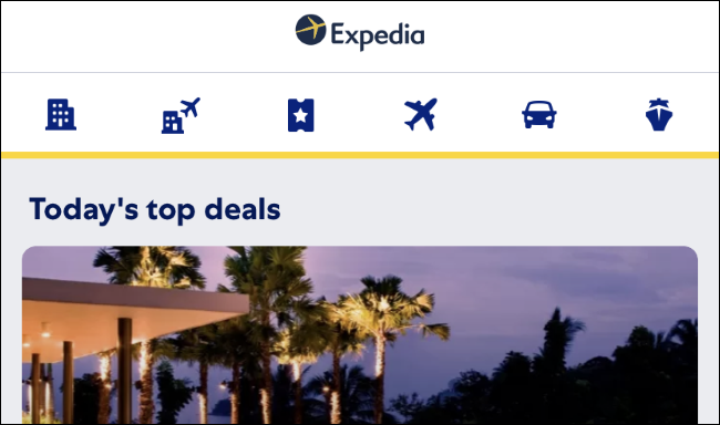 Expedia app on iPhone