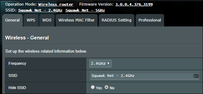 Wi-Fi SSID settings on a wireless router